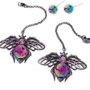 Hematite & Rhinestone  Bee Design Drop Earrings